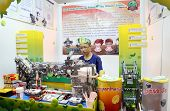 SUBANG JAYA - NOVEMBER 10: A complex robot made by unidentified student from Thailand selects, prepa