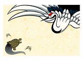 Tsurukame (crane-turtle) New Year nengajo card, symbols of youth and old age