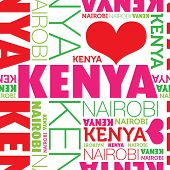 I love Kenya Nairobi seamless typography background pattern in vector