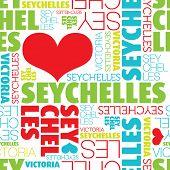 Me encanta el patrón de fondo de tipografía transparente de Seychelles Victoria en vector