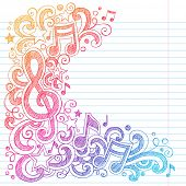Music Notes G Clef Vector- Back to School Sketchy Notebook Doodles with Music Notes and Swirls- Hand