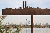 LYNDHURST, NJ-SEPT 11: A silhouette of the pre-9/11 skyline cut from steel depicts where the twin to