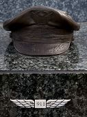 W. ORANGE, NJ-SEPT 11: A bronze sculpture of a pilots hat in the 911 memorial inside Eagle Rock Rese