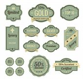 Vintage Labels set. SALE, Discount, Membership, Premium Quality, Exclusive label designs. Badge icons. Retro  logo template. High quality vector.
