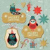 Set of Vintage Christmas and New Year elements with cute owls