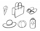 illustration of various objects on a white background