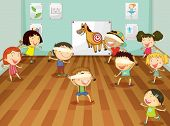 illustration of kids playing games in a room
