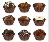 illustration of chocolates in a cup on a white background
