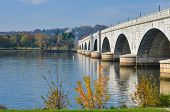 Washington D.C., Arlington Memorial Bridge with reflection on Potomac River - United States of Ameri