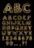 vector golden hand drawn Alphabet with digits and punctuation marks
