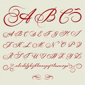image of cursive  - vector hand drawn calligraphic Alphabet based on calligraphy masters of the 18th century - JPG