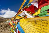 Tibet prayer flags. The blessing prayer flags in Buddhism is royalty-free in China.
