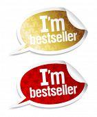 I`m bestseller stickers in form of speech bubbles.