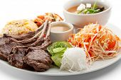 Lunch - Cabbage Salad, Miso Soup, Fried Vegetable, Sliced Cucumber, Roasted Lamb Chops, Rice and Sauce