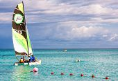 VARADERO,CUBA-NOVEMBER 3:Family of tourists sailing November 3,2012 in Varadero.With over a million