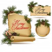 Set of Christmas vintage scrolls and stickers.