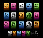 Documents Icons - 2 of 2 // Color Box------It includes 5 color versions for each icon in different layers ------