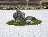 Zen Rock Garden In Ryoanji Temple, Kyoto, Japan