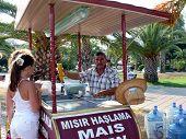 Alanya, Turkey - September 01, 2008: Men Sells Corn To Tourists On September 01, 2008 In Alanya, Tur