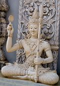 Ascetic With Spear  Statue In Traditional Thai Style Molding Art