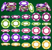 image of foreshortening  - Casino chips in different foreshortening and colors in vector isolated over green - JPG