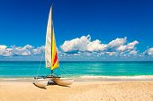 Sailing boat on a beautiful summer day at beach in Cuba