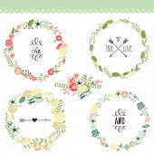 Floral Frame Collection. Set of cute retro flowers arranged un a shape of the wreath perfect for wed