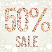 50% sale concept. Commerce text made of flowers in bright colors. Ideal for saling design in vector