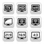 TV monitor, screen buttons set