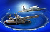 flying of may kind old classic plane over fantasy blue ocean