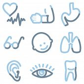 Medicine icons set 2, light blue contour