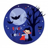 stock photo of dracula  - Cute halloween holiday vampire dracula and bats postcard cover design in vector - JPG