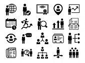 Human resource icons, black series