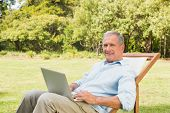 Happy mature man using laptop in park in deck chair looking at camera