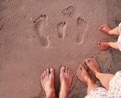 Family Footprints In The Sand