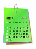 Calendar For March 2014 On Colorful Sticky Notes Attached With Metallic Clip