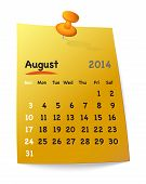 Calendar For August 2014 On Orange Sticky Note Attached With Orange Pin
