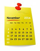 Calendar For November 2014 On Yellow Sticky Note Attached With Orange Pin