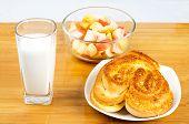 pic of fruit platter  - Nutritious breakfast of bread milk and fruit platter - JPG