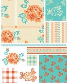 Shabby Chic Rose Floral Vector Patterns.  Use as pattern fills to create stunning items for art and