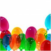 illustration of varicoloured balloons on a white backgroun
