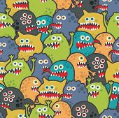 stock photo of halloween characters  - Cute monsters seamless texture - JPG