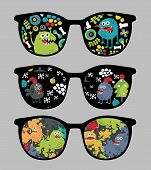 Retro sunglasses with monsters reflection.