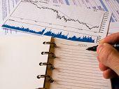 Gráfico de Finanças caindo & um bloco de notas