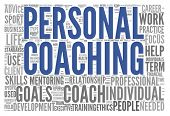 Personal coaching concept related words in tag cloud isolated on white