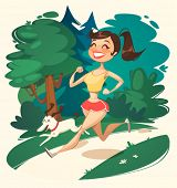 Girl is running in park. Vector illustration.