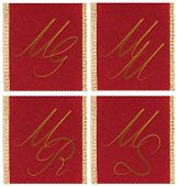 stock photo of mg  - Collection of textile monograms design on a ribbon - JPG