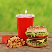 Double Cheeseburger Combo Meal With French Fries And Cola