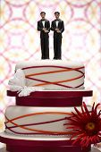 foto of gay wedding  - Groom Figurines on Wedding Cake - JPG