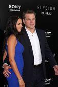LOS ANGELES - AUG 7:  Luciana Barroso, Matt Damon arrives at the